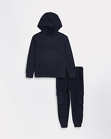 Boys navy River waffle hoodie and joggers set