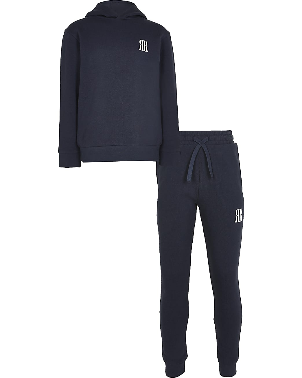 Boys navy RR hoodie and jogger outfit