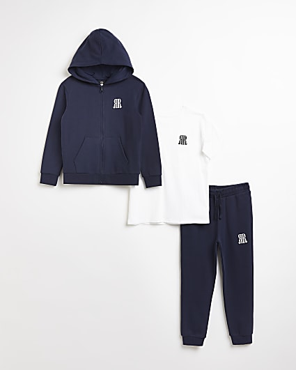 Boys navy RR hoodie and joggers outfit