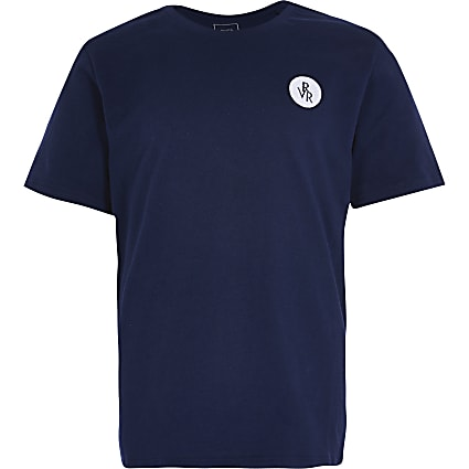 Boys navy RVR chest print t-shirt
