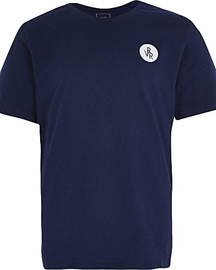 Boys navy RVR chest print t-shirt