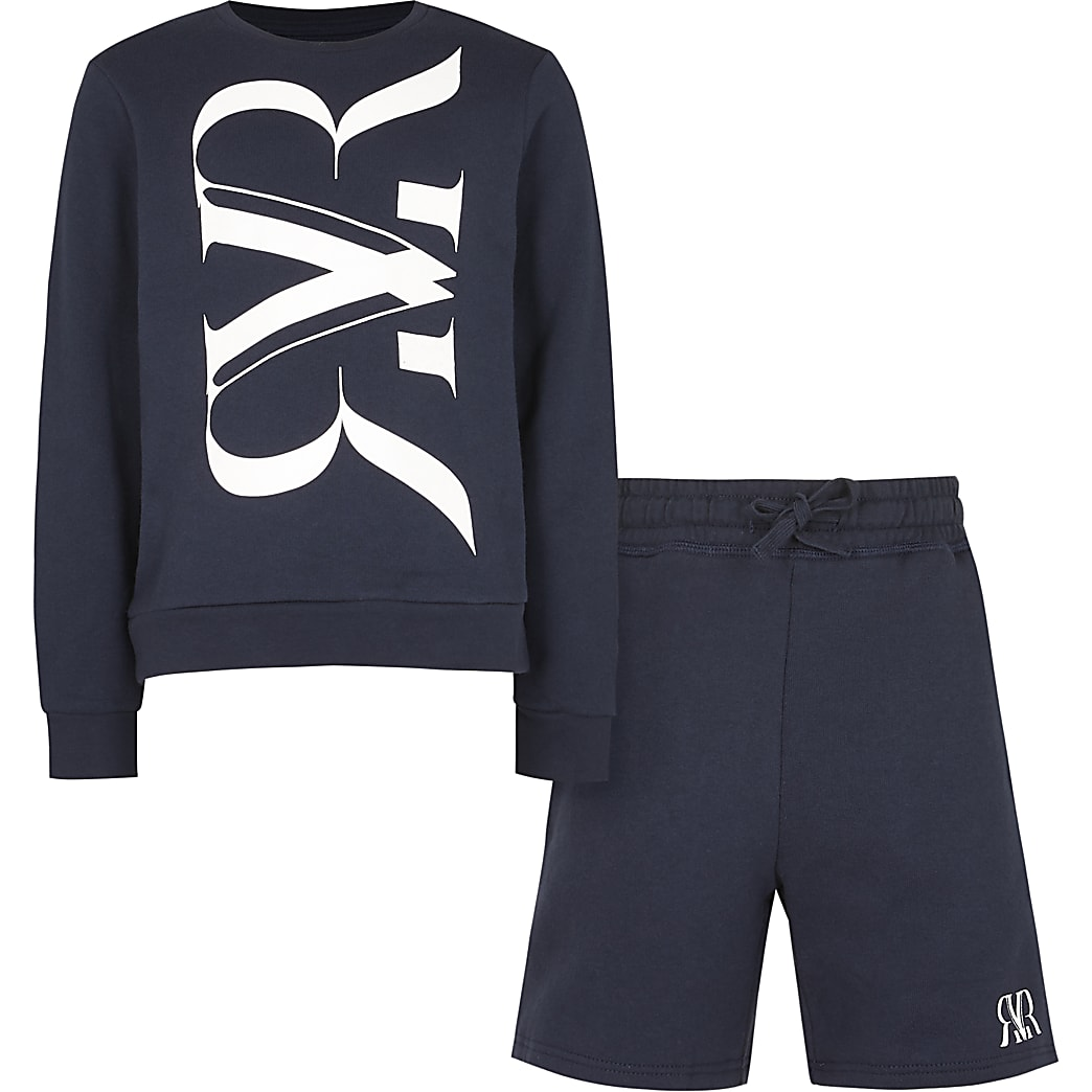 Boys navy RVR sweatshirt and shorts outfit