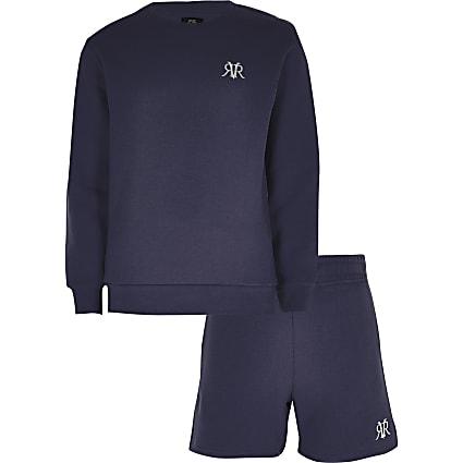 Boys navy RVR sweatshirt outfit