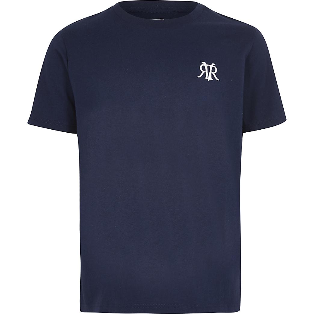 Marineblauw T-shirt met RVR-print voor jongens