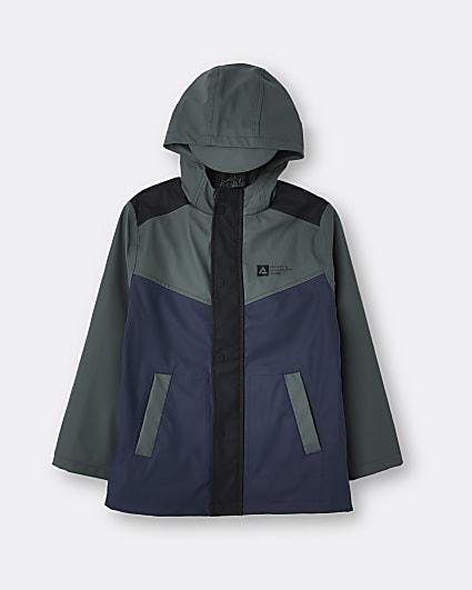 Boys navy shower resistant rain jacket