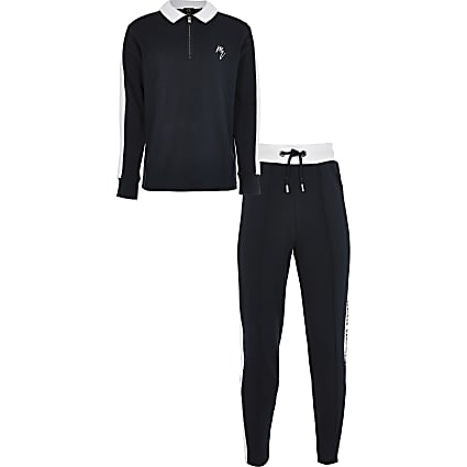 Boys navy side stripe Maison polo outfit