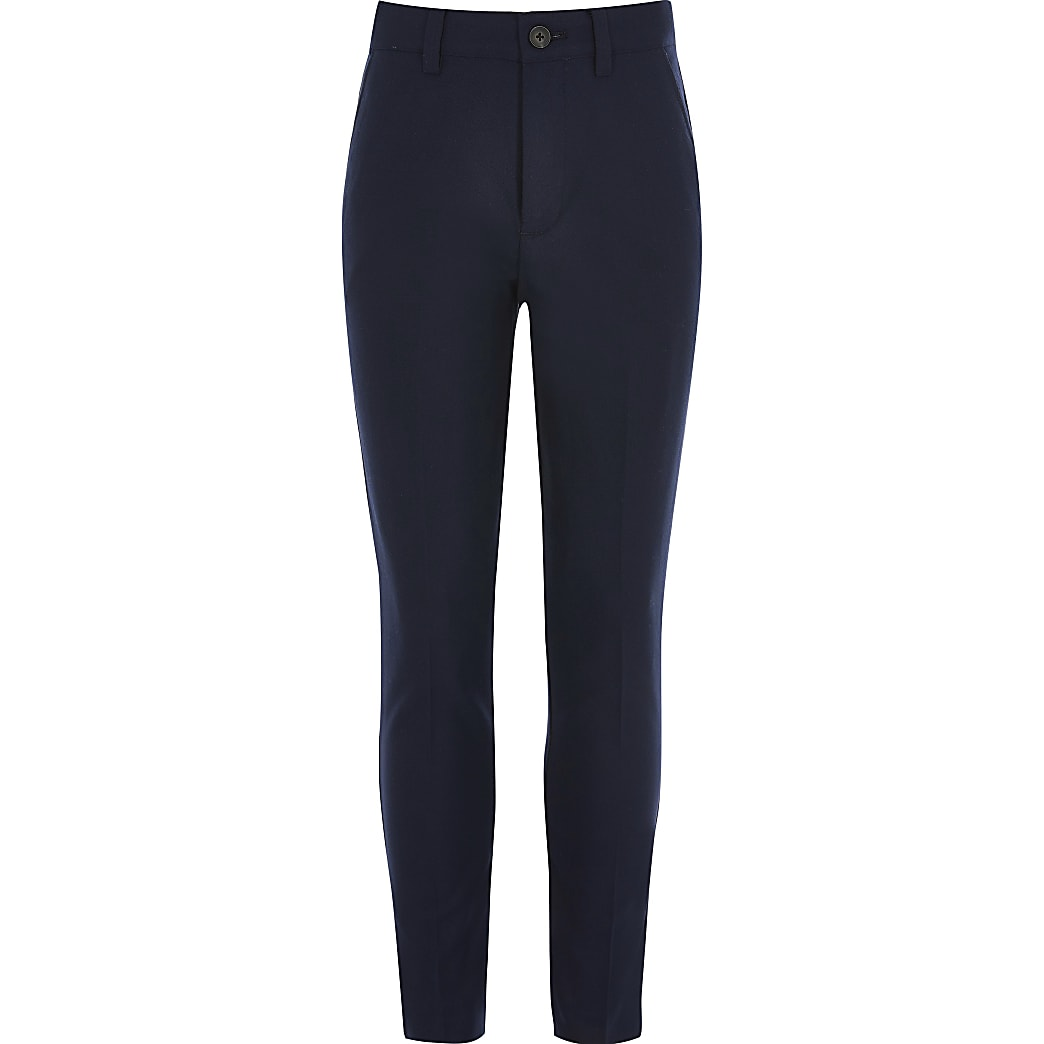 Boys navy skinny fit suit trousers
