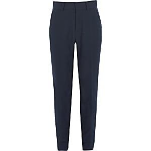 Boys navy slim fit suit trousers