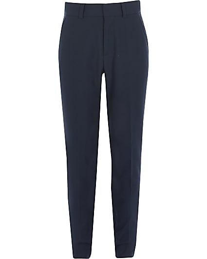 Boys navy slim fit suit trousers