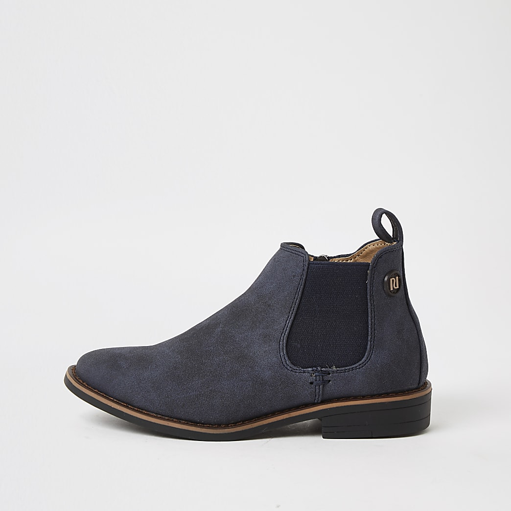 Boys navy smart chelsea boots