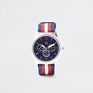 Montre à bracelet en toile rayé bleu marine garçon