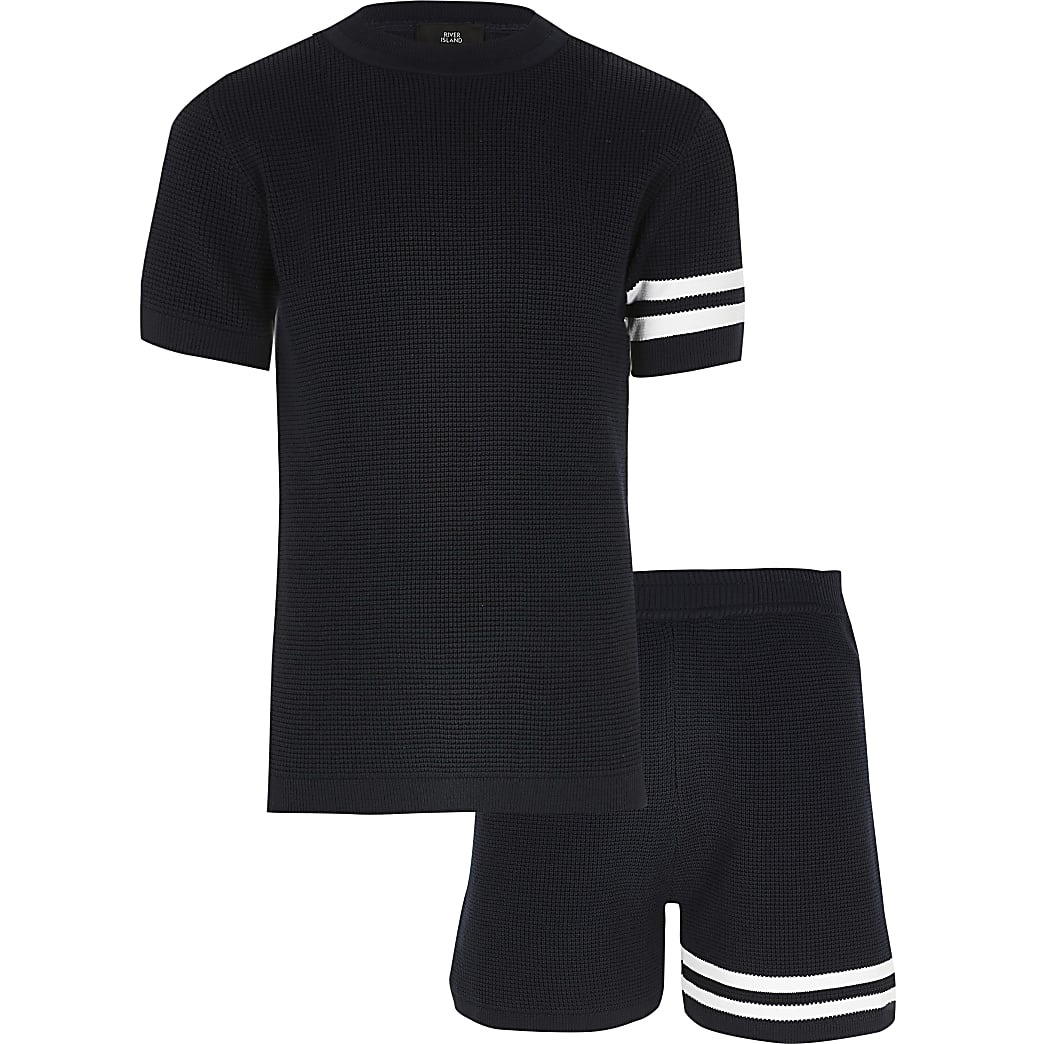 Boys navy stripe knitted T-shirt outfit