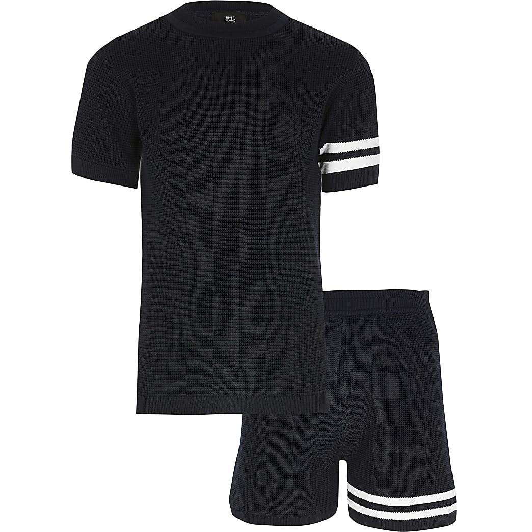 Marineblauw gebreid T-shirt outfit met strepen voor jongens
