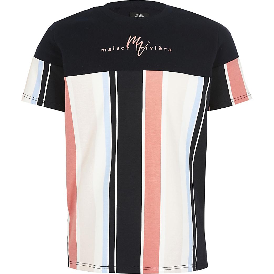 Boys navy stripe Maison Riviera T-shirt