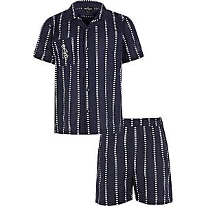 Marineblaue, gestreifte RI-Pyjamas für Jungen