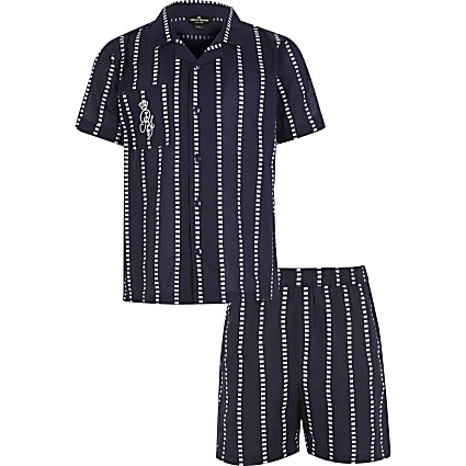 Boys navy stripe RI pyjamas