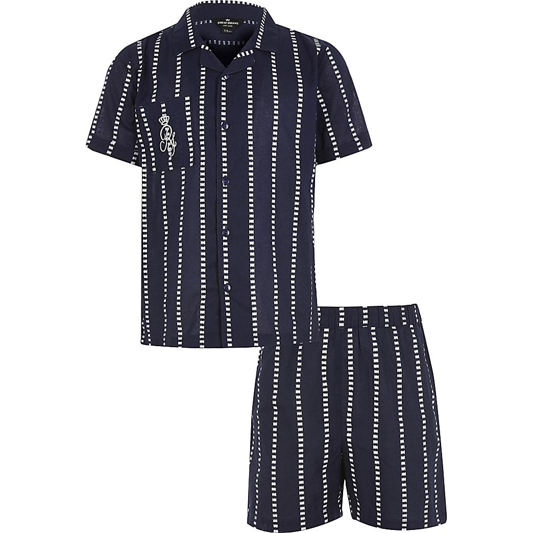 Marineblauwe gestreepte pyjama met RI-logo voor jongens