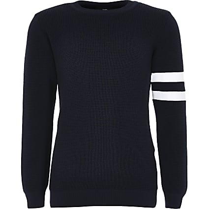 Boys navy stripe sleeve knitted jumper