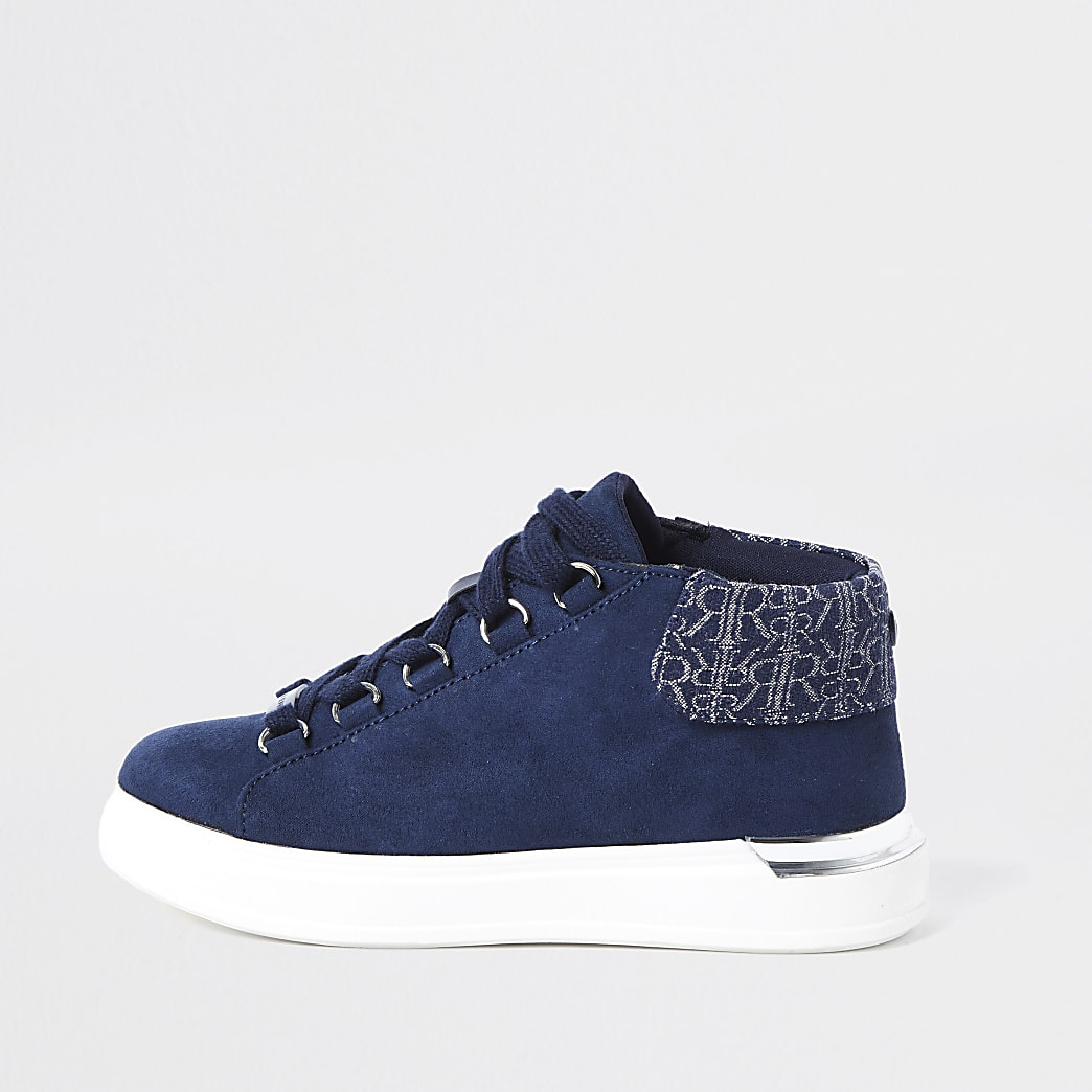 Boys navy suedette hi top trainers