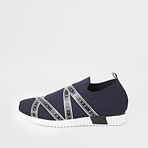 Svnth – Marineblaue Strick-Sneaker für Jungen