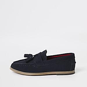 Marineblaue Loafer mit Quaste