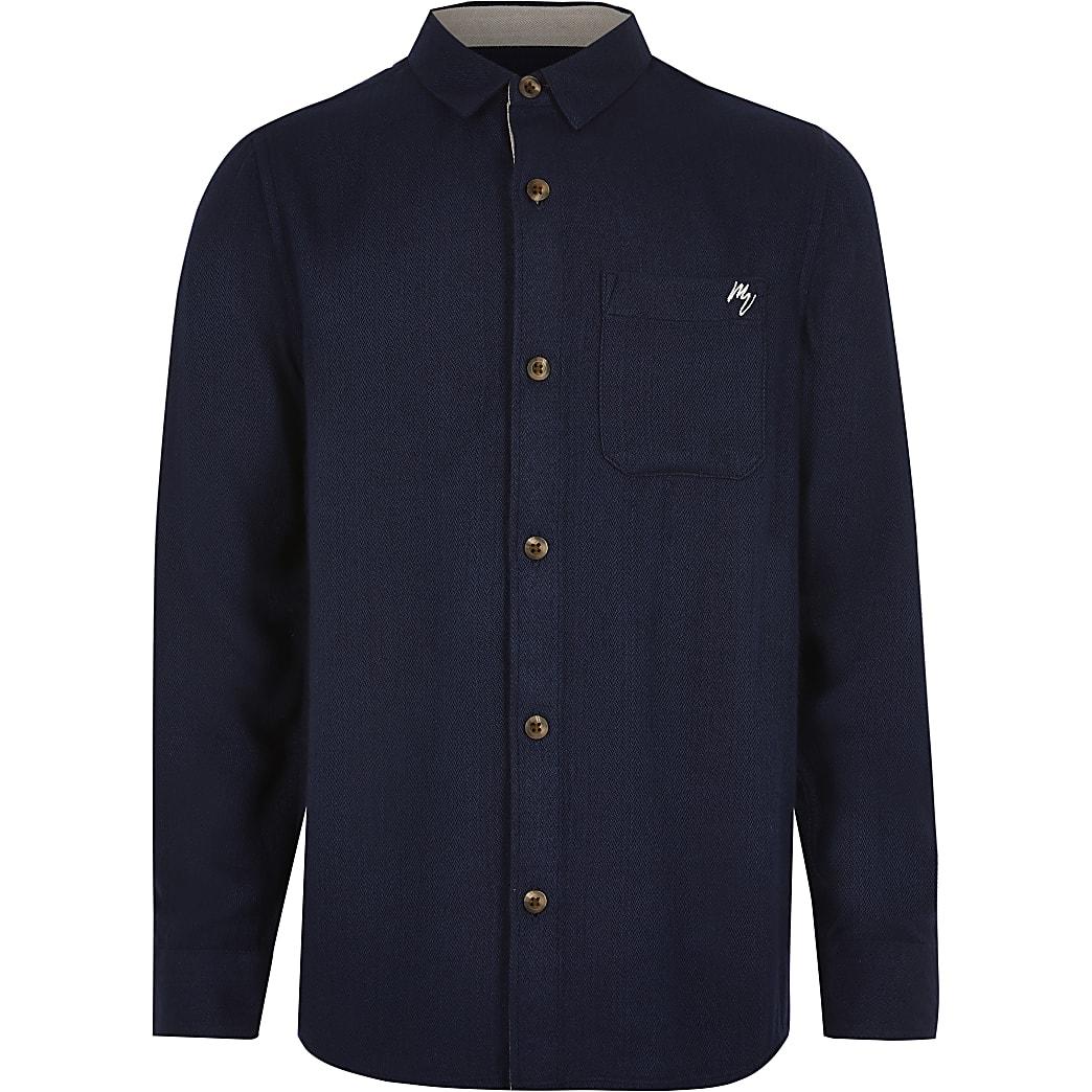 Boys navy textured chest pocket shirt