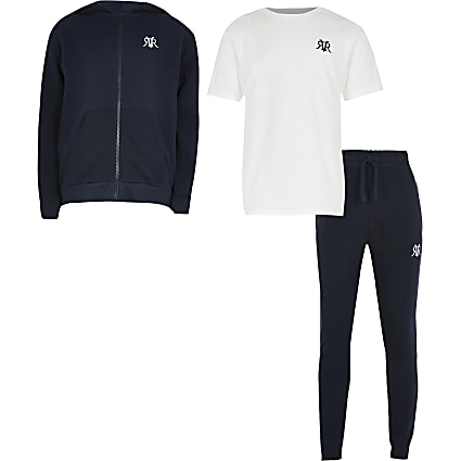Boys navy three piece tracksuit