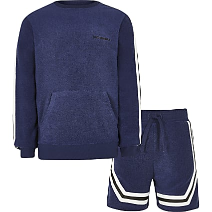 Boys navy towelling sweatshirt outfit