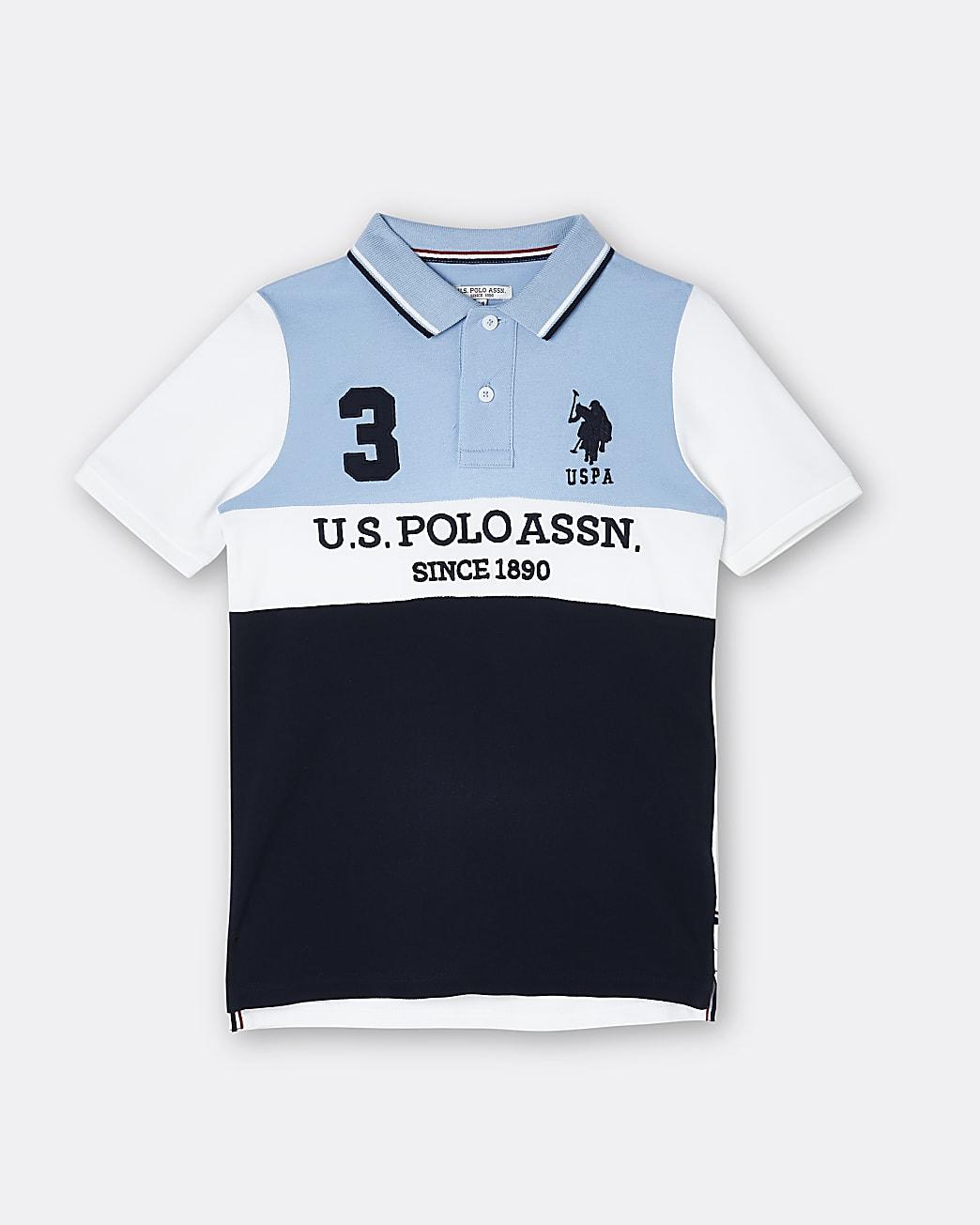 Boys navy USPA colour block polo shirt