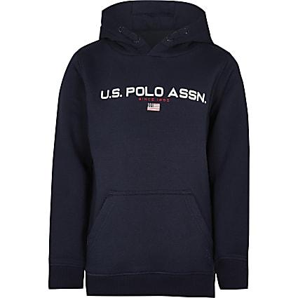 Boys navy USPA long sleeve hoodie