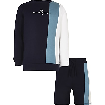 Boys navy vertical blocked sweatshirt outfit