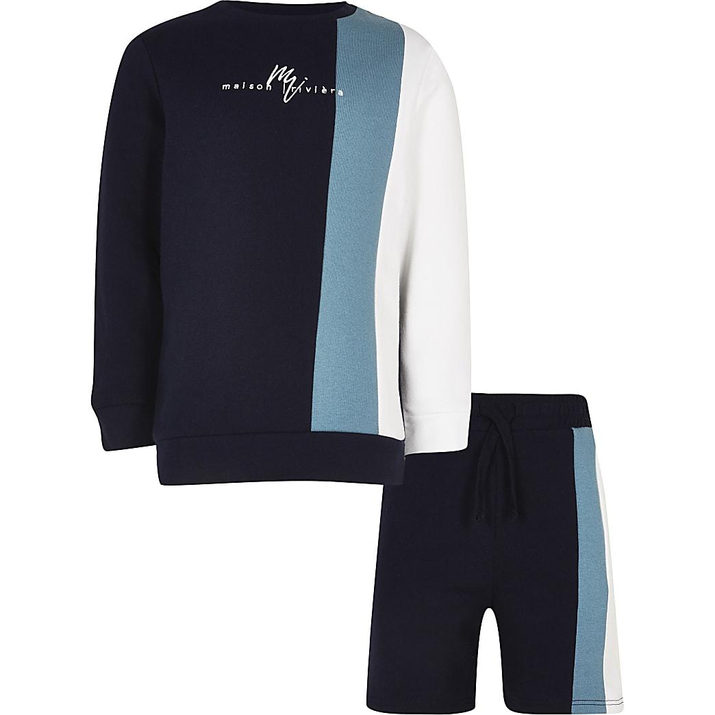 Boys navy vertical blocked sweatshirt outfit