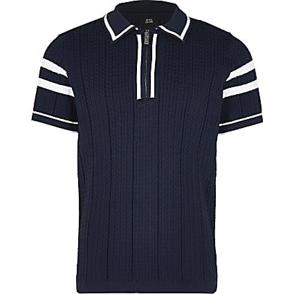 Boys navy waffle stitch polo shirt