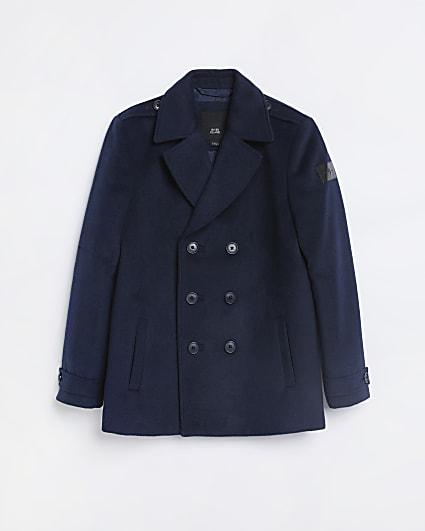 Boys navy wool coat