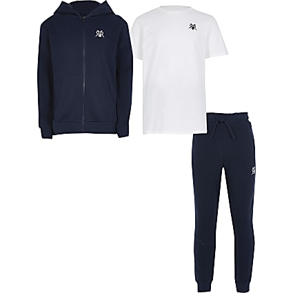 Boys navy zip up hoody 3 piece set