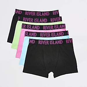 Neon multikleuren boxers voor jongens set van 5