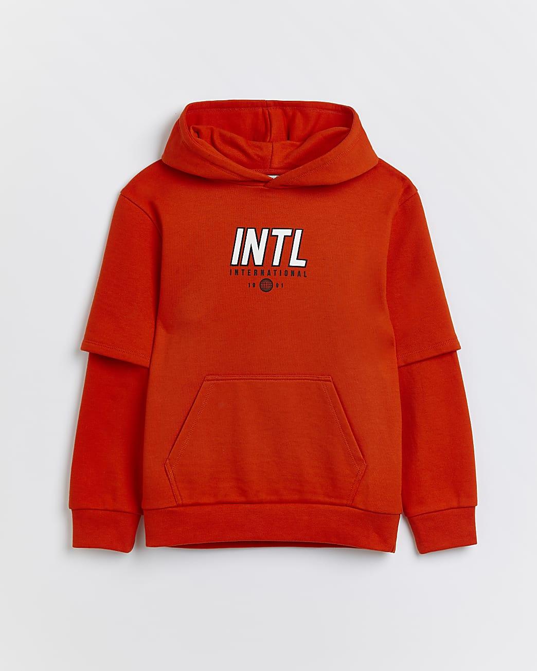Boys orange back graphic hoodie