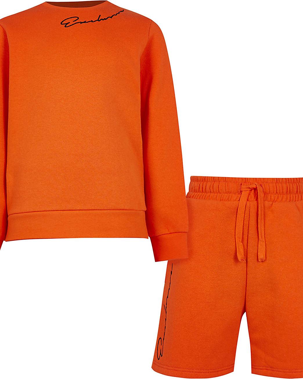 Boys orange 'Exclusive' sweatshirt outfit