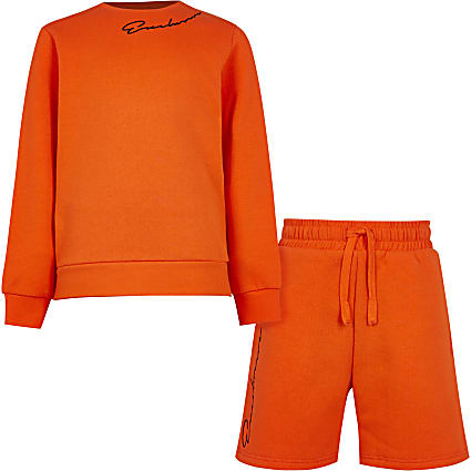 Boys orange 'Exclusive' sweatshirt outfit