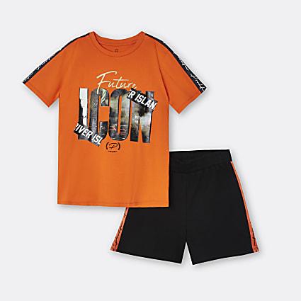 Boys orange 'Future Icon' t-shirt and shorts
