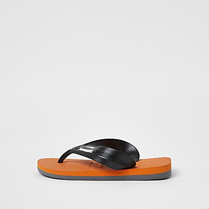 Boys orange Havaianas flip flops