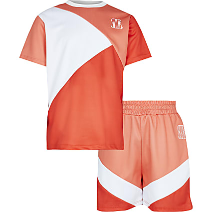 Boys orange mesh t-shirt and shorts outfit