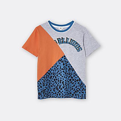 Boys orange 'Rebellious' colour block t-shirt
