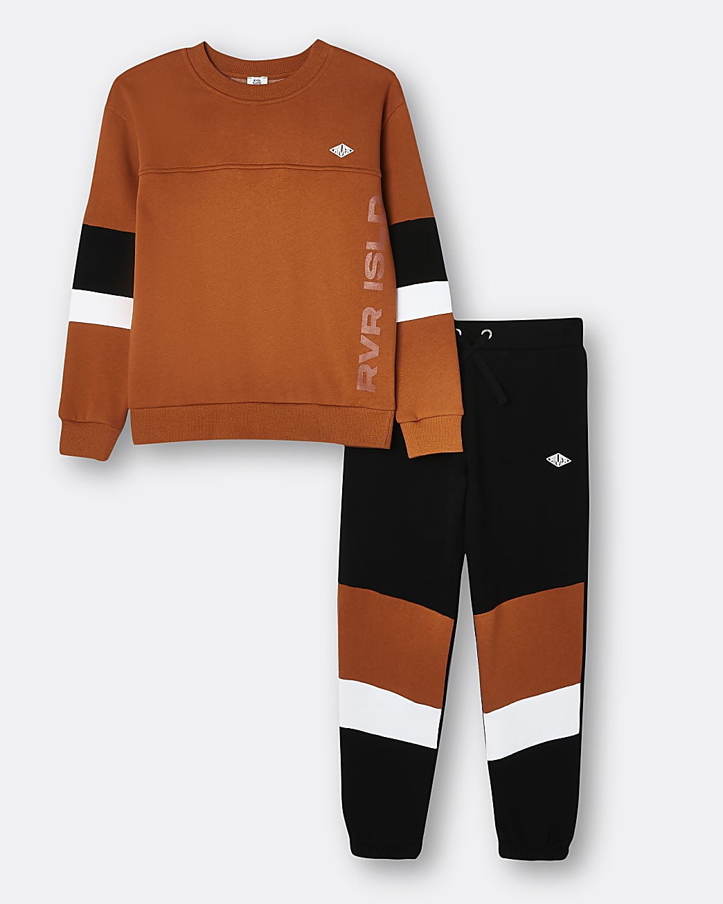 Boys orange RI colour block sweatshirt set