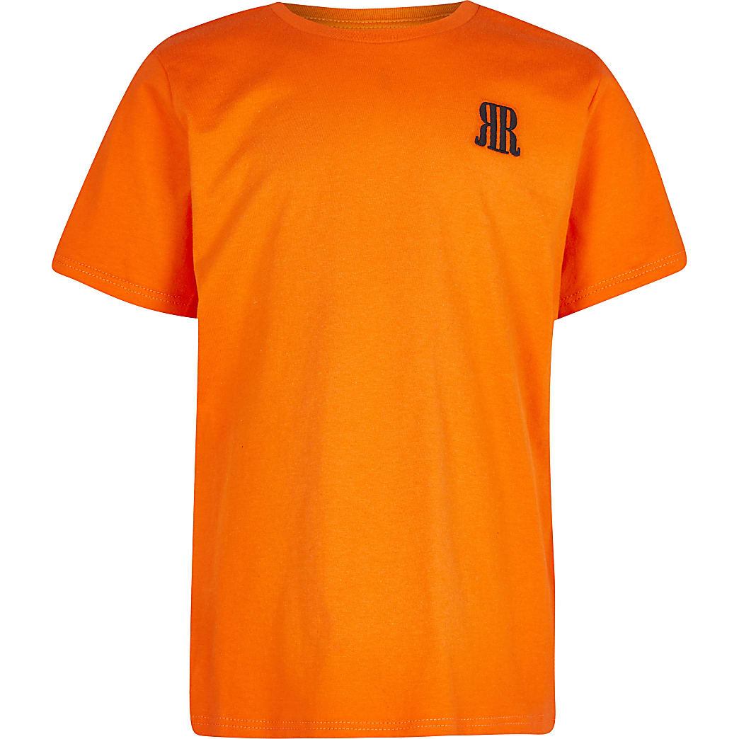 Boys orange RR logo t-shirt
