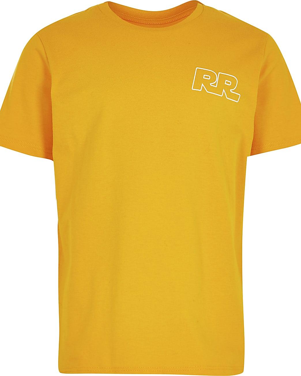 Boys orange 'RR' print t-shirt