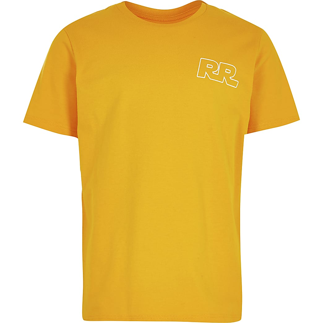 Boys orange 'RR' print t-shirt