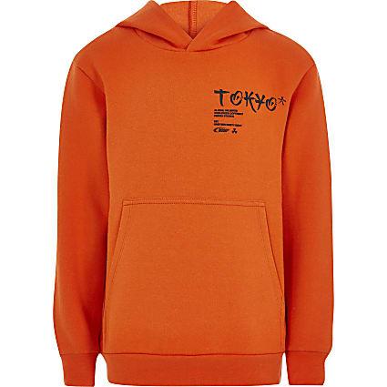 Boys orange 'Tokyo' printed hoodie