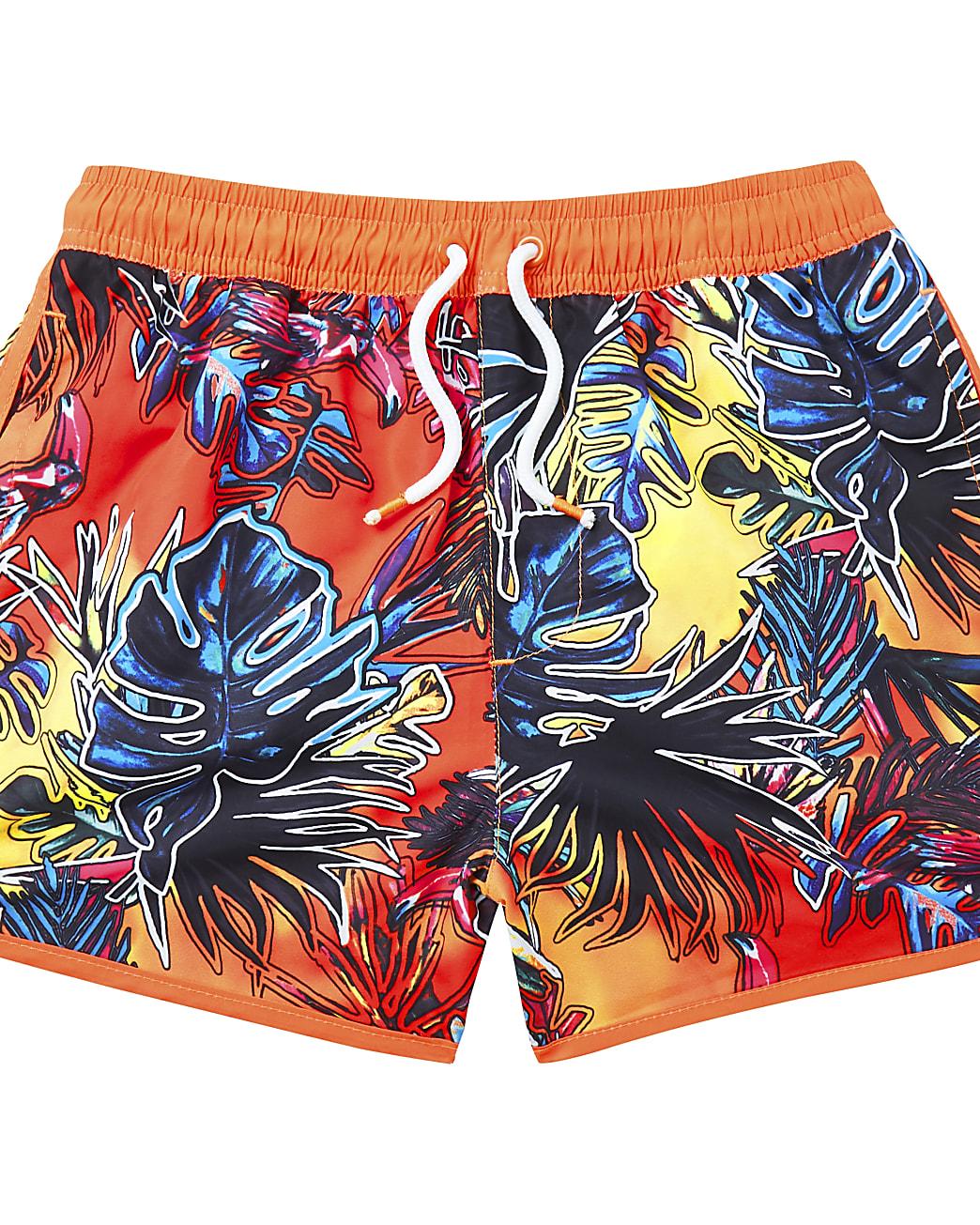Boys orange tropical printed swim shorts