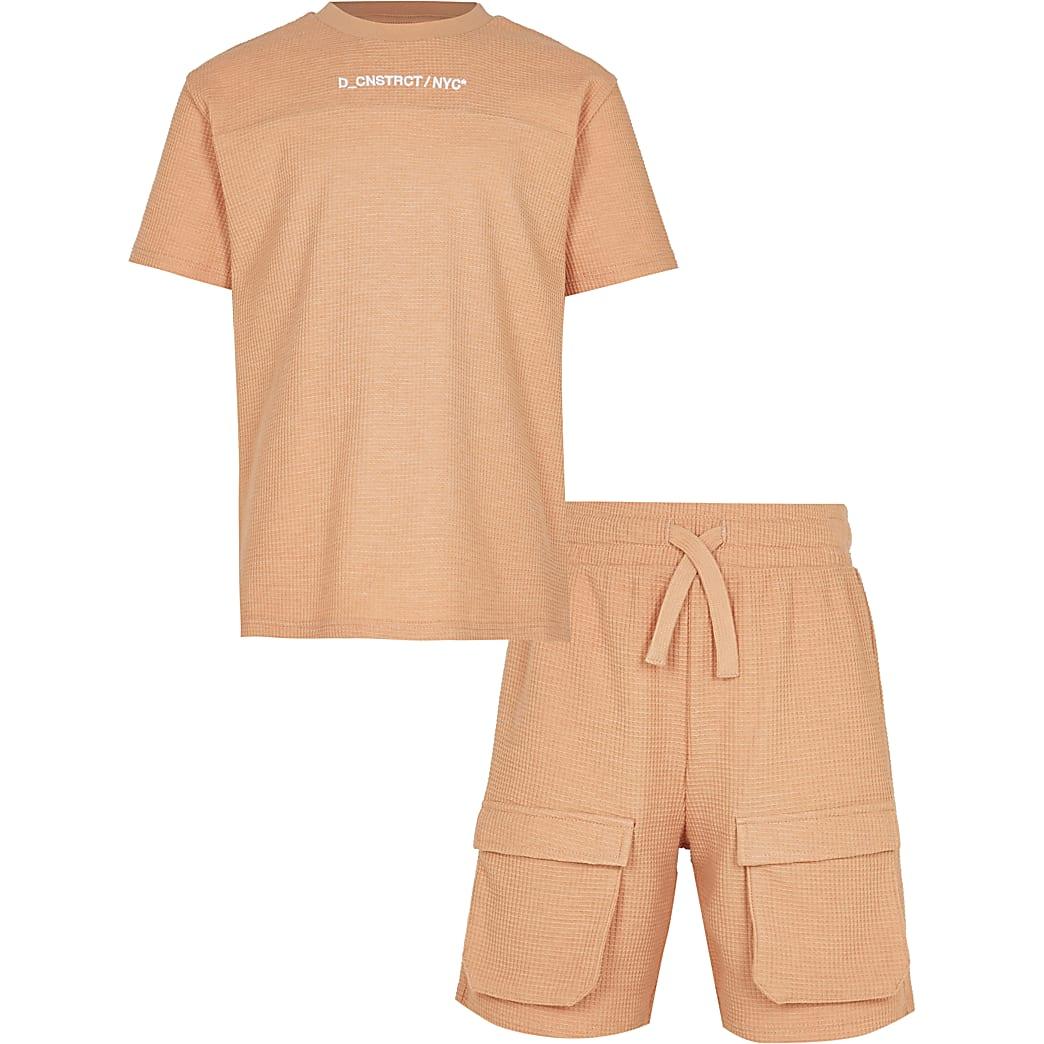 Boys orange waffle shorts outfit